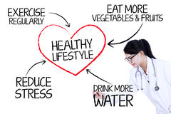Doctor showing healthy lifestyle Stock Images