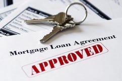 Document van de Lening van onroerende goederen Het Hypotheek Goedgekeurde Royalty-vrije Stock Afbeeldingen