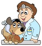 Dog with collar at veterinarian Royalty Free Stock Image