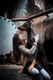 Dog and girl Stock Photography