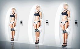 Domestica sexy del vestito del cyborg di tre femmine Fotografia Stock Libera da Diritti