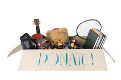 Donation box full with stuff for kid Royalty Free Stock Photo