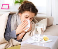 Donna ammalata. Influenza Immagine Stock Libera da Diritti