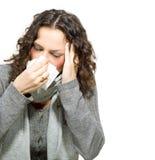 Donna malata. Influenza Fotografia Stock Libera da Diritti
