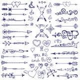 Doodle arrows,decor element,snowflakes.Winter love Stock Photography