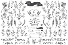 Doodle borders,ribbons,floral decor element for Royalty Free Stock Image