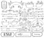 Doodle bridal shower ribbons,border,badges,decor Royalty Free Stock Photo
