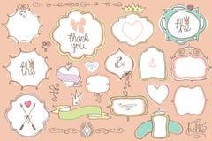 Doodle colored  labels, badges,frame,decor element.Love set Stock Photo