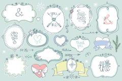 Doodle colored  labels, badges,frame,decor element. Winter set Royalty Free Stock Photo
