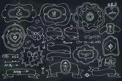 Doodle labels,badges,decor element on chalkboard Stock Image