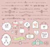 Doodle  labels, badges,frame,border,decor element Stock Images