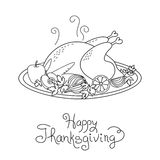 Doodle Thanksgiving Turkey Meal Freehand Vector Stock Images