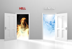 Doors to heaven and hell representing Christian belief and afterlife Royalty Free Stock Photography