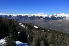 Dos Rond, Winter landscape in the ski resort of La Plagne, France Royalty Free Stock Images