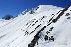 Dos Rond, Winter landscape in the ski resort of La Plagne, France Stock Photography