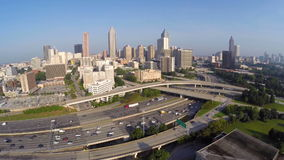 Downtown Atlanta Georgia and Interstate 20 aerial video stock footage