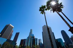 Downtown LA Los Angeles skyline California from 110 fwy Royalty Free Stock Image
