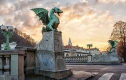 Dragon bridge in Ljubljana Royalty Free Stock Photos