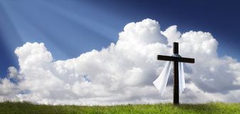 Dramatic Panorama Easter Sunday Morning Sunrise With Cross On Hill Stock Image