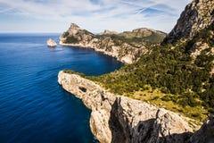 Dramatic rocky sea coast of Cap Formentor, Mallorca Stock Image