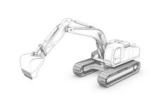 Drawing: black-and-white sketch of excavator Stock Photos