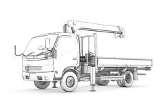 Drawing: black-and-white sketch of loader Stock Images