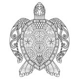 Drawing zentangle turtle for coloring page, shirt design effect, logo, tattoo and decoration. Royalty Free Stock Images