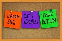 Dream Big, Set Goals, Take Action Stock Photo