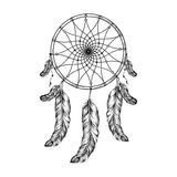 Dream catcher with feathers  in zentangle style, high detailed r Stock Photo