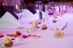 Dressed restaurant table for special occasion Stock Photos