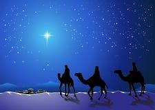 Drie wijzen gaan voor de ster van Bethlehem Royalty-vrije Stock Afbeeldingen
