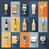 Drink Icons Flat Royalty Free Stock Images