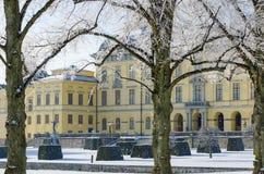 Snowfall at Drottningholm palace Royalty Free Stock Image