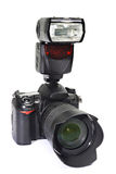 DSLR camera, lens and flash Royalty Free Stock Photo