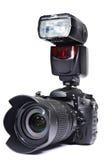 DSLR camera, lens and flash Stock Photos