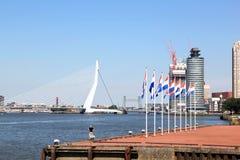 Dutch flags along Nieuwe Maas River, Rotterdam, Holland Stock Photo