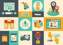 E-commerce and online shopping icons Stock Photos