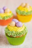 Easter cupcakes decorated with eggs in nest Stock Photo