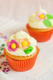 Easter cupcakes decorated with flowers Royalty Free Stock Photography