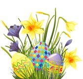 Easter eggs in grass Stock Photos