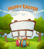 Easter Holidays And Spring Landscape With Sign Stock Image