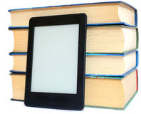 Ebook and regular books Stock Photo