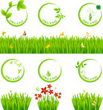 Eco icon and grass Royalty Free Stock Images