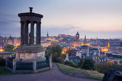 Edinburgh city from Calton Hill at night, Scotland, UK Stock Photos