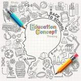 Education concept thinking doodles icons set. Stock Image