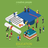 Education micro people flat 3d web isometric infographic concept Royalty Free Stock Photography