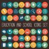 Education School Flat Icon Set Royalty Free Stock Photos