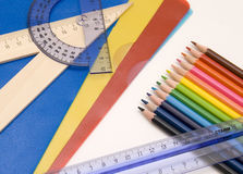 Educations tools - pencils, rulers Royalty Free Stock Photography