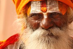 Een Hindoese monnik in Varanasi Stock Afbeeldingen