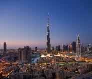 Een horizon van Doubai Van de binnenstad met Burj Khalifa en Stock Foto